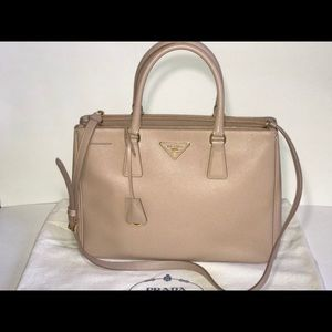 Authentic Prada saffiano lux galleria tote nude